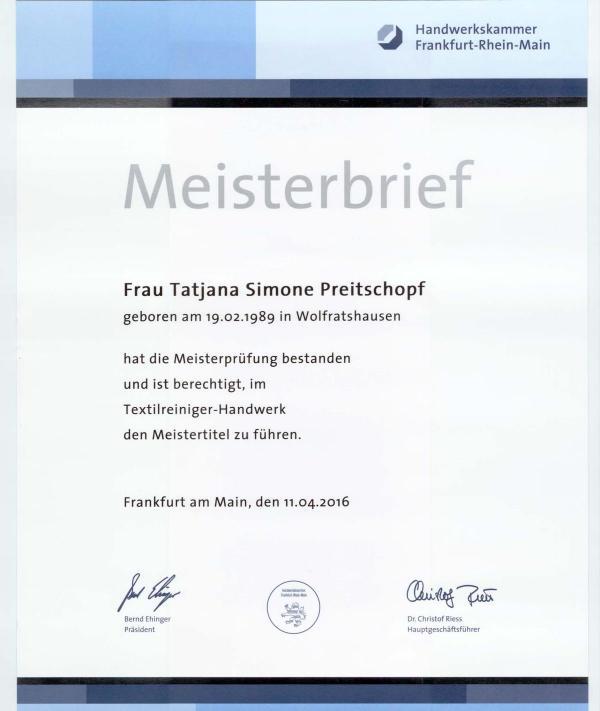 Meisterbrief Tatjana Preitschopf