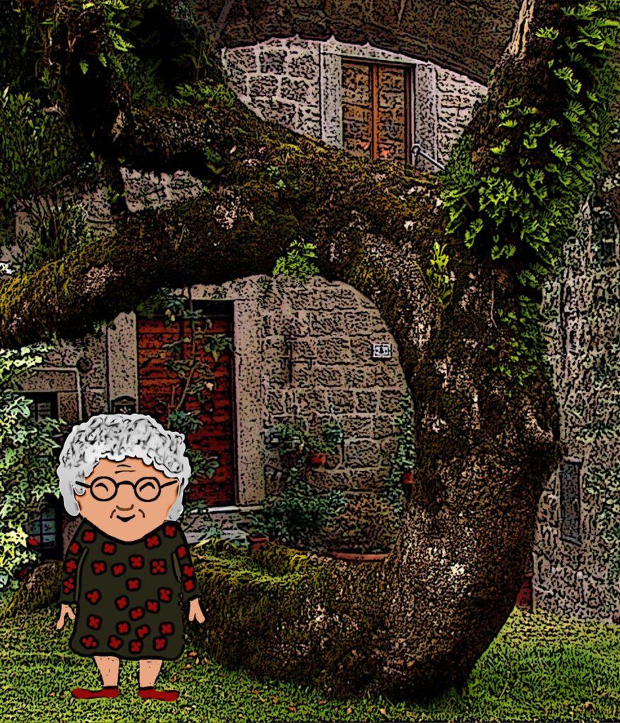 Oma Wachsmandl vor ihrem Haus