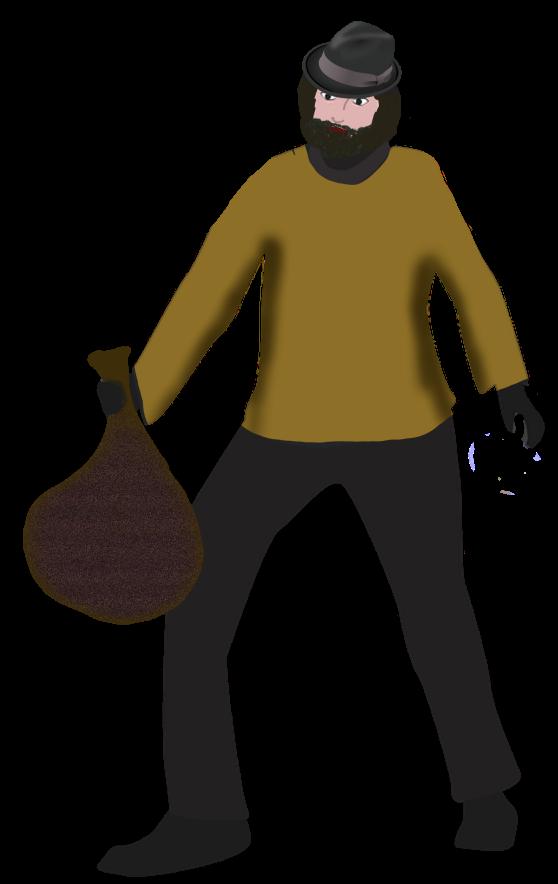 Räuber Arno mit seiner Beute